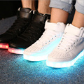 fashion LED shoes men women high top casual light shoes USB charge classic black/white size35-46 luminous glowing sneakers flats