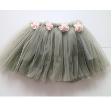 pink flower  grey color elastic waist tutu skirts wholesale skirt for children icing nylon skirt