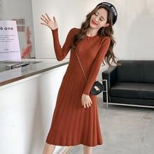 3c1efbf54c41 2018 Autumn and Winter Long Slim Long-sleeved Knit Inner Bottoming Dress  women dress O