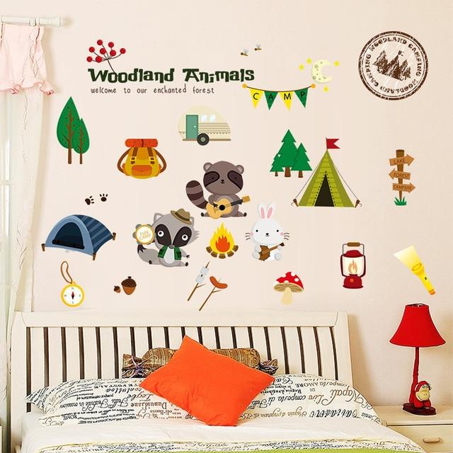 Woodland Forest Animals Wall Stickers Kids Rooms Decoration Refrigerator Home Decor Nursery Decals Children Wallpaper