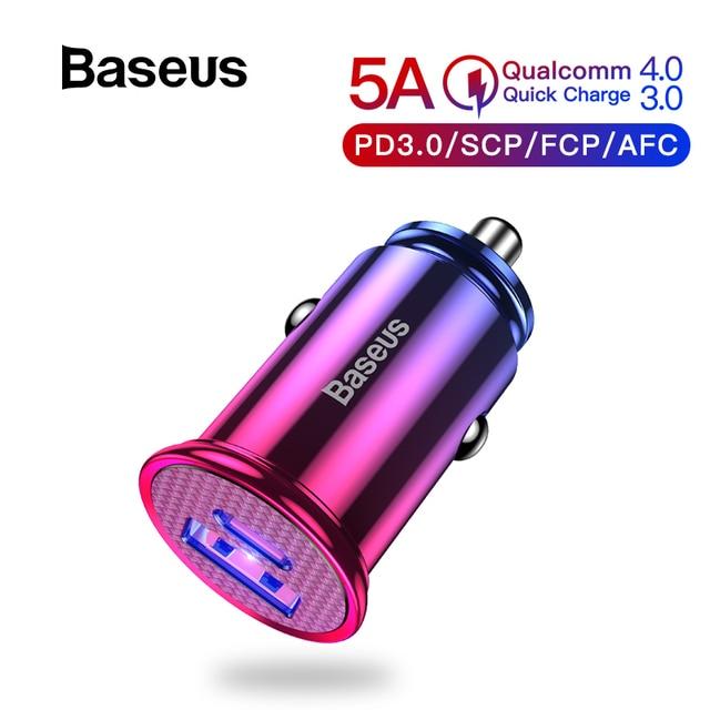 Baseus 30W de carga rápida 4,0 USB 3,0 del cargador del coche para Samsung Huawei sobrecargar SCP QC4.0 QC3.0 rápido PD USB cargador de teléfono para coche C