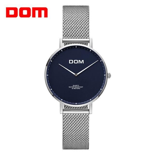 ca682e3ab172 DOM reloj mujer Top de lujo impermeable reloj de cuarzo reloj de cuero  correa de malla