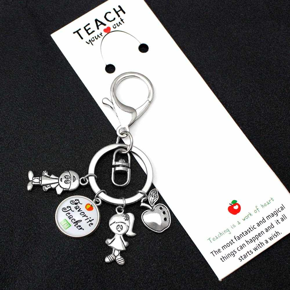Teacher Appreciation Apple Teach Love Inspire Keychains Kids Charms Key Chain Key Ring Women Men Male Unisex Keyring Jewelry