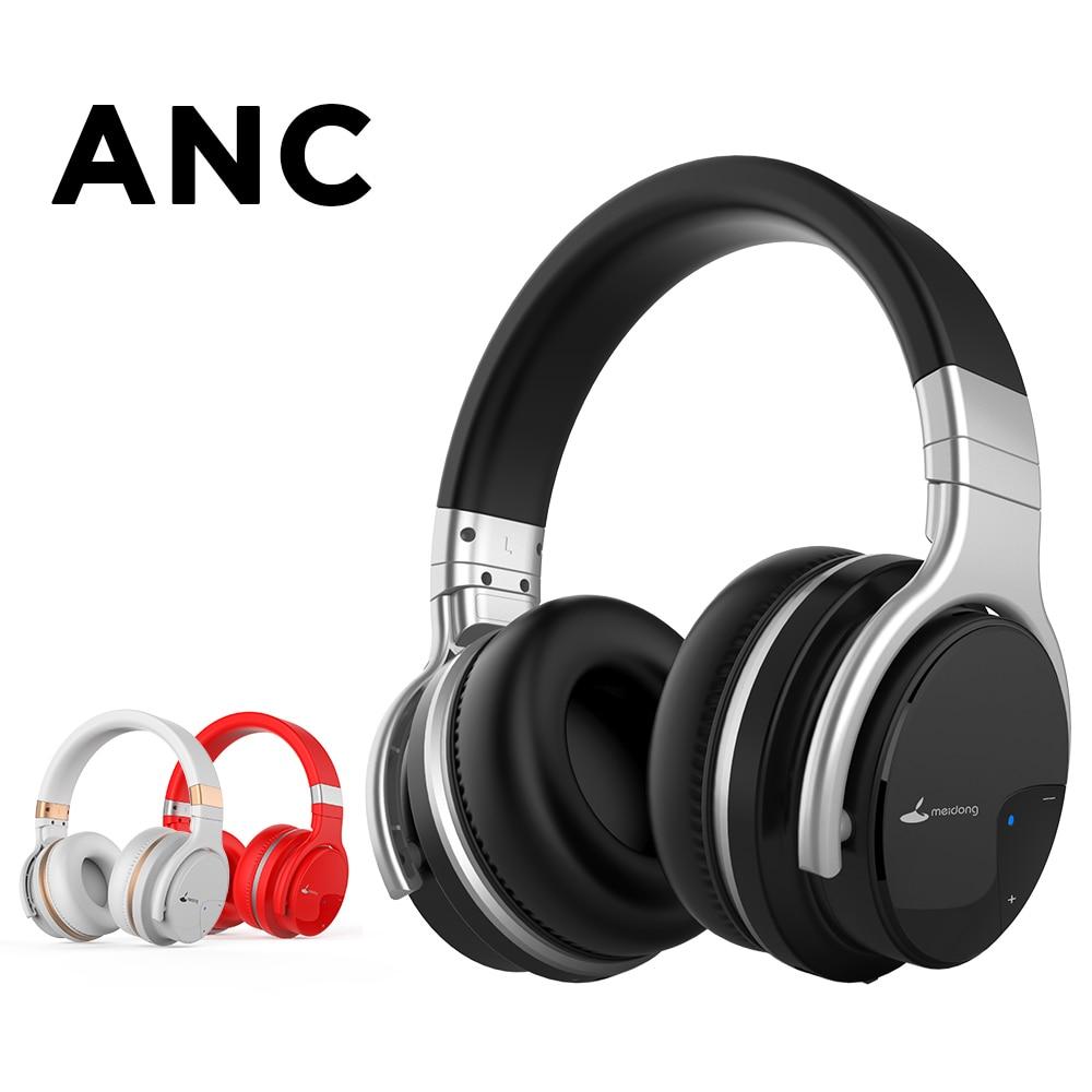 Meidong E7B ANC Active Noise Cancelling fones de ouvido com microfone sem fio Bluetooth fone de ouvido de alta fidelidade fones de ouvido graves profundos