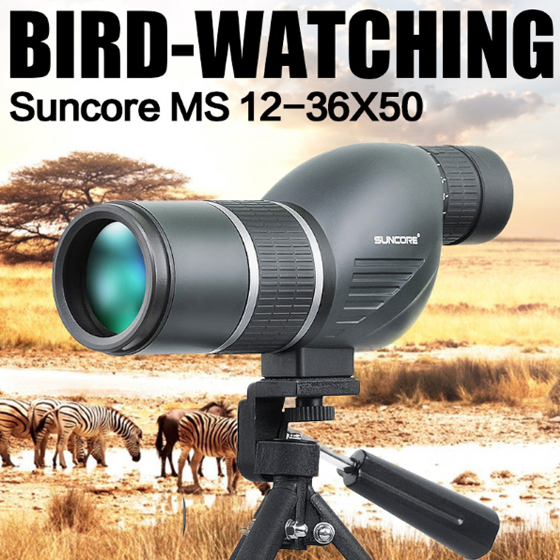 Free Shipping High quality 12-36x50 HUNTING SPOTTING SCOPE Birds telescope, Single-tube outdoor Telescope with tripod