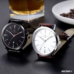 Image 2 - HAIYES mężczyźni oglądać luksusowe marki analogowe Auto data japonia ruch wodoodporne zegarki kwarcowe najlepszy prezent 2018 New Arrival zegarki