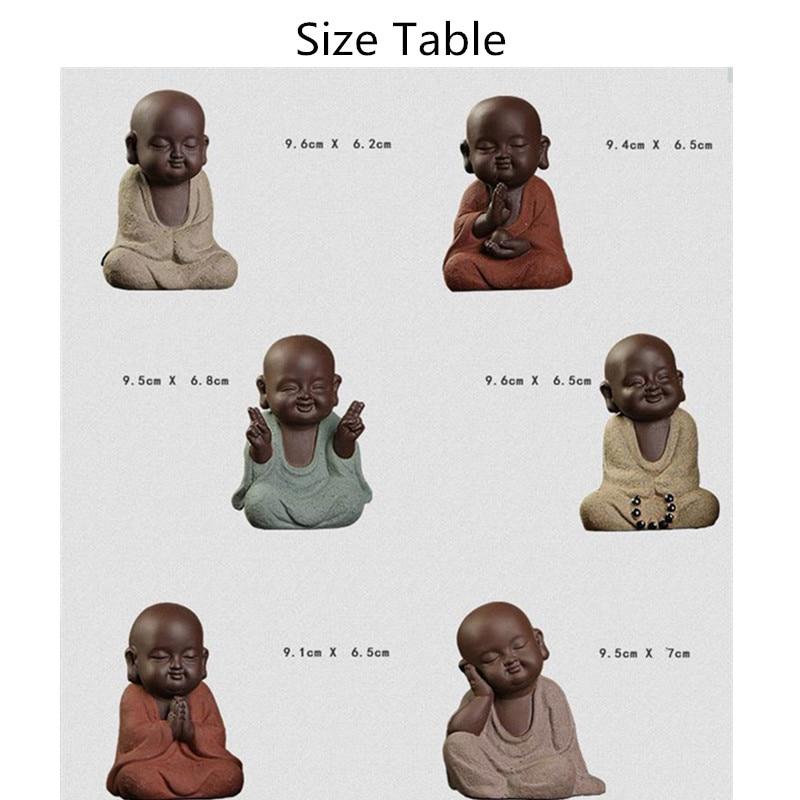 Image 4 - Buddha statues small monk color sand ceramic home club geomantic decoration Purple Sand Figurines Tea PetStatues & Sculptures   -