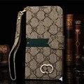 Ouro marca log retro couro luxo virar capa carteira case para iphone 7 6 6 s além de 5S se 5c galaxy s5 s6 s7 edge + nota 3 4 5 7