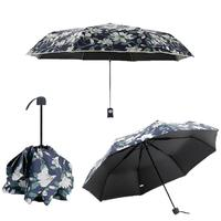 2017 New Personality Floral Umbrella Rain Brand Automatic UV Three Folding Umbrellas Women And Men L30