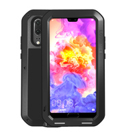 For Huawei P20 Powerful Heavy Aluminum Metal Silicone Case 360 Full Cover Luxury Armor Shockproof Life
