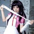 Súper Danganronpa Mikan Tsumiki púrpura oscuro largo de Cosplay peluca