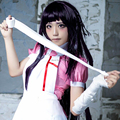 Super Danganronpa Mikan Tsumiki roxo longo Cosplay peruca