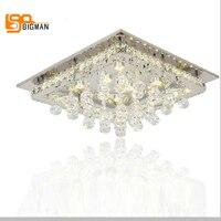 Новый квадратный светодио дный светодиодный потолочный светильник современный кристалл для дома декоративные люстры де cristal освещение