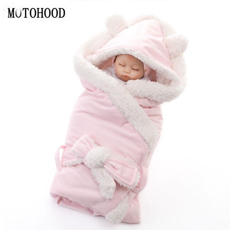 MOTOHOOD Winter Baby Boys Girls Blanket Wrap Double Layer Fleece Baby Swaddle Sleeping Bag For Newborns Baby Bedding Blanket