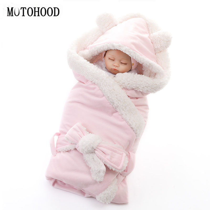 MOTOHOOD Winter Baby Boys Girls Blanket Wrap Double Layer Fleece Baby Swaddle Sleeping Bag For Newborns Baby Bedding Blanket Kid