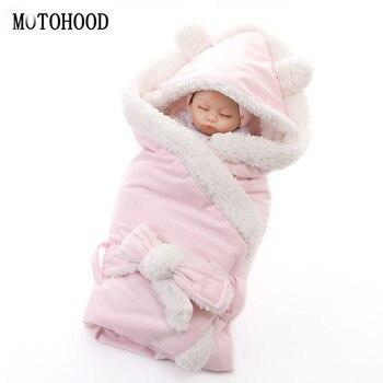 MOTOHOOD Winter Baby Boys Girls Blanket Wrap Double Layer Fleece Baby Swaddle Sleeping Bag For Newborns Baby Bedding Blanket Kid