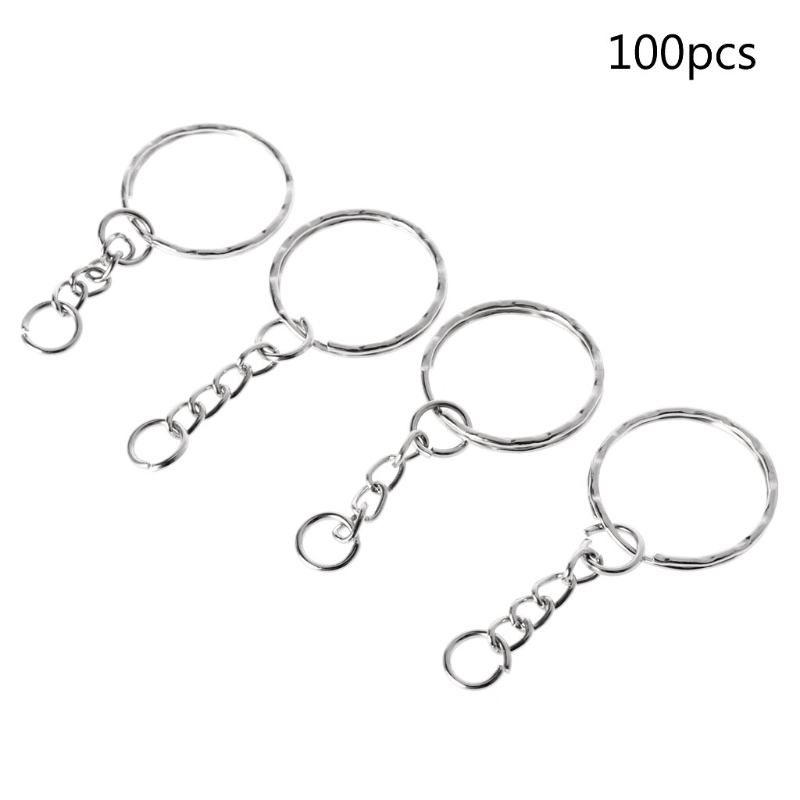 Lots 25mm PSplit Metal Key Rings Keyring Blanks With Link Chains For DIY Craft