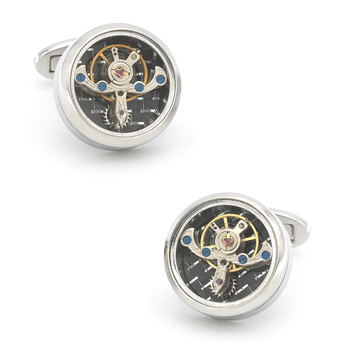 Men's Jewellery Functional Cuff Links Fashion Watch Movement Design Silver Color Staineless Steel Cufflinks Wholesale&retail