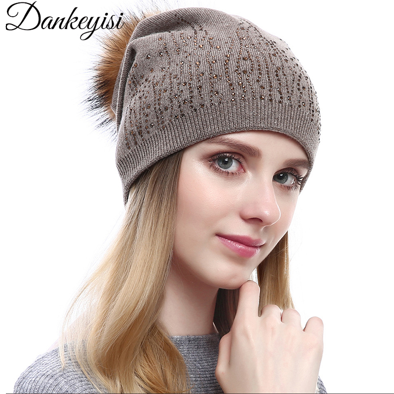 DANKEYISI Real Mink Fur Pompom Hat Winter Hats Wool Knitted Hat Women Pom Poms   Skullies     Beanies   Bonnet Girls Female Cap feminino