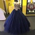 Azul Marinho lindo Vestido de Baile Quinceanera 2017 Querida Pérolas Cristais Tulle Andar de Comprimento Doce 16 Vestidos de Baile