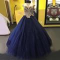 Gorgeous Navy Blue Ball Gown Vestido de Quinceanera 2017 Sweetheart Perlas Cristales Tul Palabra de Longitud Dulce Largo 16 Vestidos de Bola
