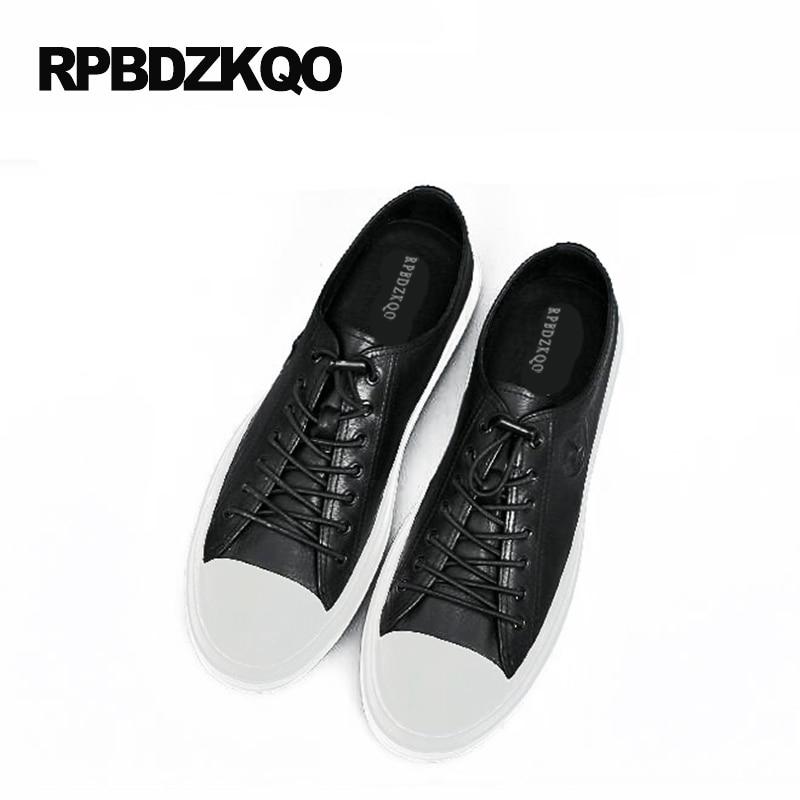 Mode Noir Haute forme Plate Hip Hommes Véritable Vache Qualité Chaussures Hop Blanc Dernières Cuir En Patin Européen blanc Sneakers De Lacent Noir 4X8Rw8xB