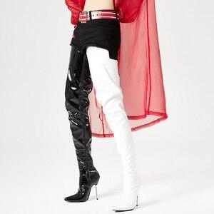 Image 5 - 股ブーツ腿の高セクシーなフェチロングブーツ12センチメートル超高ヒールオーバーザ膝光沢のあるマットパテントpuレザー女性のブーツ