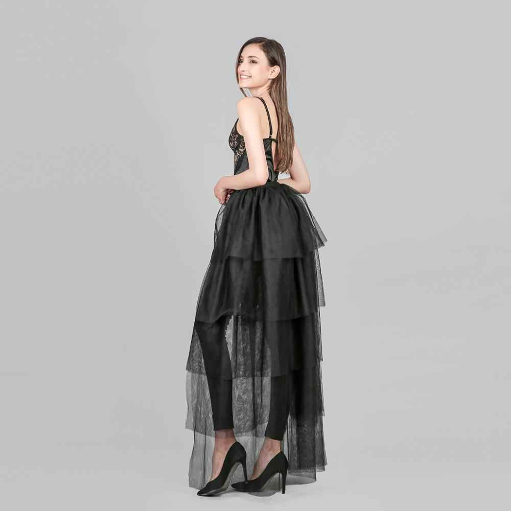 Kobiety wzburzyć długa spódnica z tiulu, czarny, biały, paski, nieregularne wysokiej talii asymetryczne spódnice Boho Sashes plaża Jupes