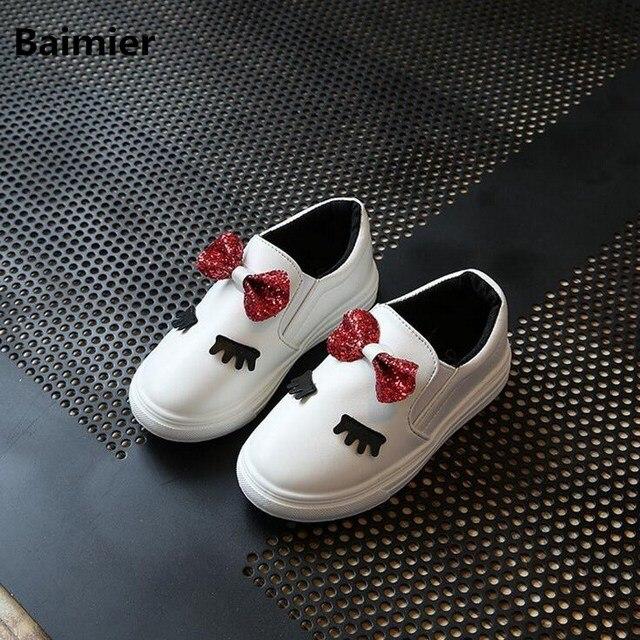 Baimier Casual Enfants PU Chaussures En Cuir Filles Princesse Chaussures Automne Bébé Plat Sneakers Enfants Chaussures Pour Filles Chaussure Enfant