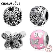 Choruslove Sparkling Flutter Butterfly Charms 925 Sterling Silver Flying Bead fit Original Pandora DIY Spring Bracelet
