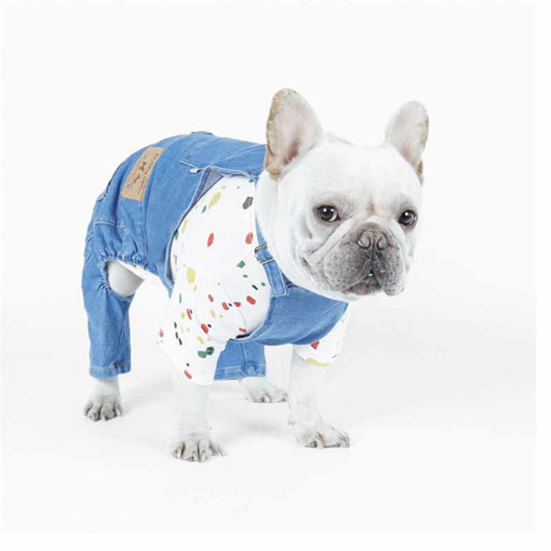 Denim Tuta Per Cane Generale Pet Vestiti Per Cani di Taglia Piccola Bulldog Francese Shih Tzu Pug Cucciolo del Gatto Vestito di Jeans Tute E Salopette abbigliamento XL