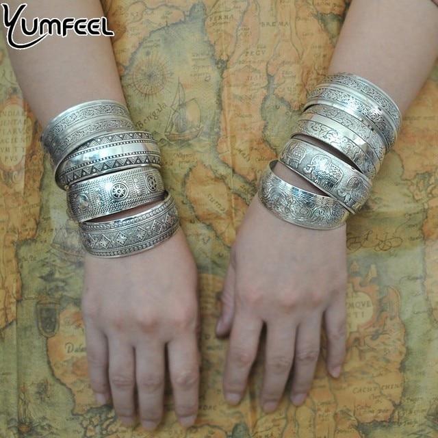 Yumfeel Factory Wholesale Tibetan Jewelry Vintage Silver Bangles Antique Tibetan Silver Cuff Bracelets for Women