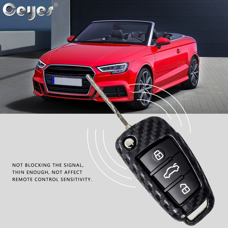 Image 4 - Ceyes Car Styling Auto Fold Carbon Fiber Grain Shell Protection Cover Case For Audi A3 A4 TT A4L A6L Q7 Q5 A5 A7 Car Accessories-in Car Stickers from Automobiles & Motorcycles