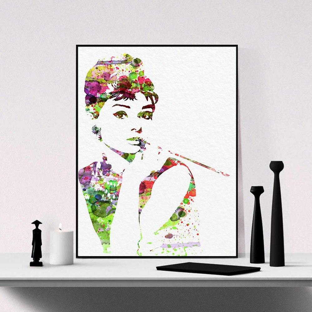 Acquerello Audrey Hepburn Marilyn Monroe attori Stampe Su Tela Pittura Decorazione Della Casa Della Parete A Olio di Arte Della Parete Immagine 3 Pannello