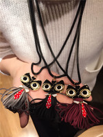 Owl Fashion Jewelry Korean Style Tassels Skirt Owl Necklace Long Sweater Chain Pendant Punk European And