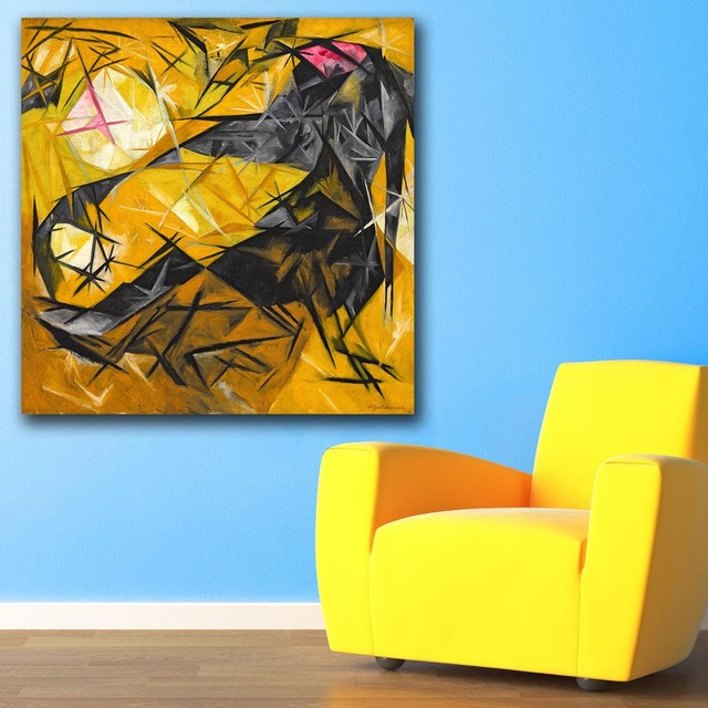 Cats (rayist percep in rose, black, and yellow) Oil Painting Wall ...