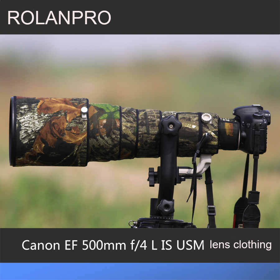 ROLANPRO Lens Bag Camouflage Rain Cover Canon EF 500mm F/4 L IS USM Lens Protective Sleeve Case Guns Protector DSLR Camera Bag rolanpro lens camouflage rain cover for canon ef 200mm f 2 l is usm lens protective case guns cotton clothing