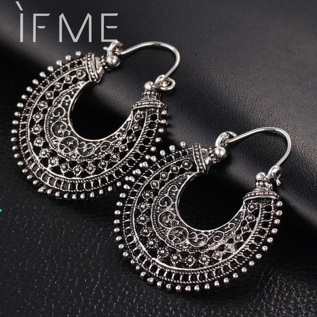 If Me New Vintage Silver Color Earrings For Women Style Accessories Dangle Mujer Jewelry Retro