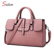 Simple and Elegant Leather Handbags Women Casual Tote Bags High Quality Female Crocodile pattern Ladies For