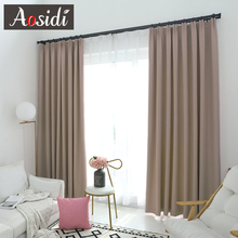Modern blackout curtains for Living room Bedroom Window Solid color cloth Curtains Ready Made finished drapes Blinds Custom made cheap Left and Right Biparting Open Knitted French Window Exterior Installation Included Yarn Dyed home hotel Office hospital