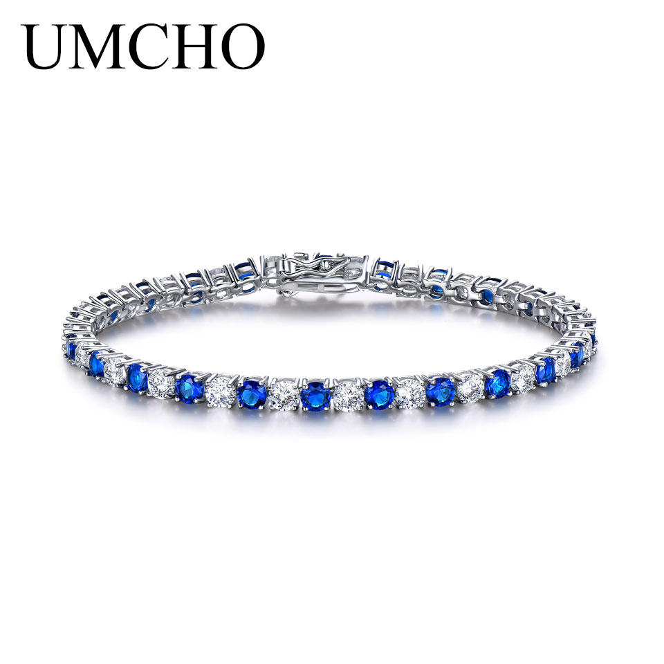 UMCHO Luxury Created Nano Blue Sapphire Bracelet For Women 925 Sterling Silver Jewelry Romantic Classic Wedding Fine Jewelry blue sapphire silver bracelet for women tennis bracelet wedding party 15 carats 45 pieces created blue sapphire luxury style