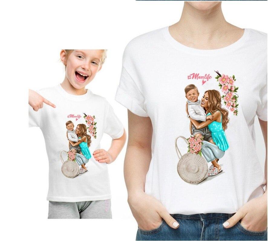 Новая семейная футболка с принтом Одежда «Мама и я» Семейные комплекты с короткими рукавами QT-1924 - Цвет: Розовый