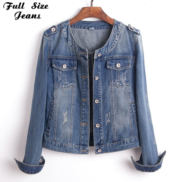 9d0ef5c8b4df5 Plus Size Round Collar Jeans Jacket 4XL 5XL Sweet Women Light Blue Bomber  Short Denim Jackets Long Sleeve Jaqueta Casual Coat