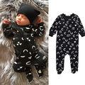 Bebé recién nacido Niños Niño Niña Otoño Trajes de la Historieta Imprimió el Mameluco Negro Cremallera Del Mono 2 unids Conjunto
