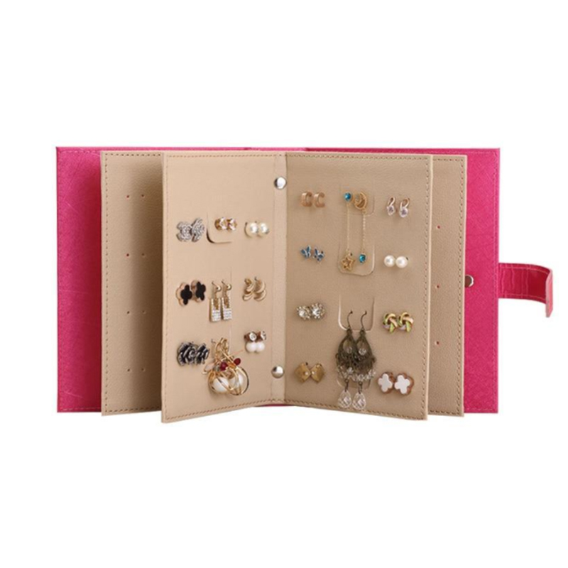 Stud Earrings Collection Book Women PU Leather Earring Storage Box Creative Jewelry Display Holder Jewellery Organizer