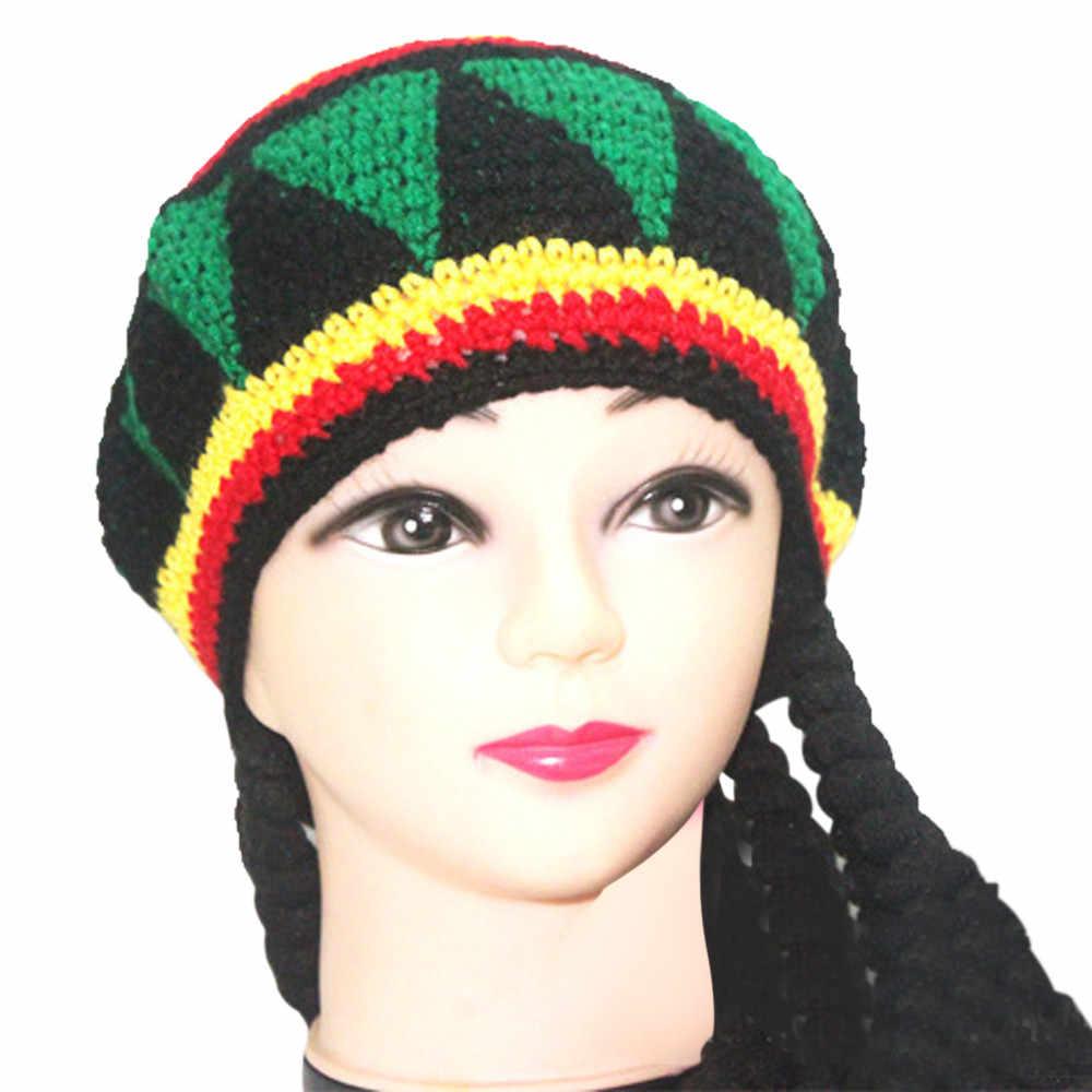 Otoño Invierno lana mezcla suave caliente adulto Unisex Folk-personalizado tupé Patchwork piel punto lana abrigo gorra moda sombrero invierno de las mujeres