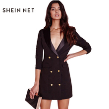 Sheinnet Apparel Black Sexy Brief Women Blazer Dress Autumn Double Breasted Chic Female Dress Office Casual Slim Basic Vestidos