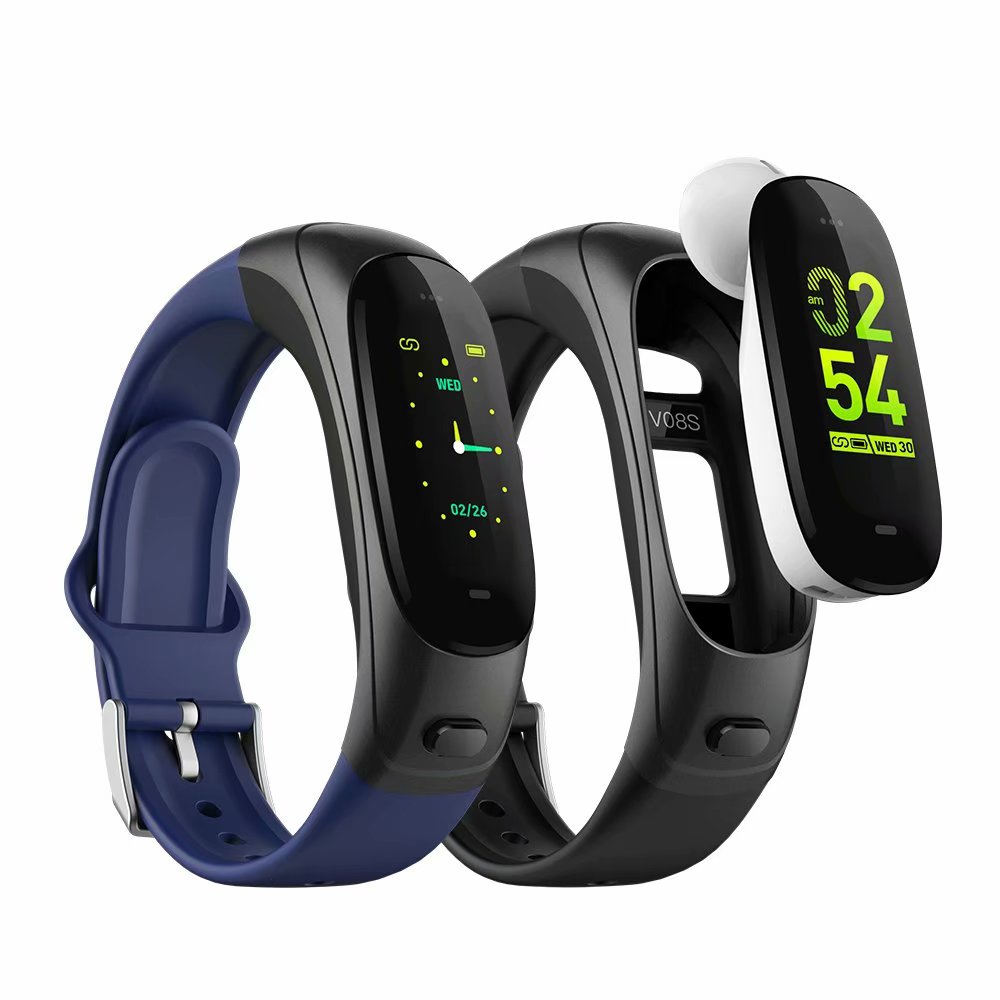 V08S Smart Bracelet Bluetooth Headset 2 in 1 Smart Band Waterproof Earphone Blood Pressure Sensor Tracker Heart Rate Smartband