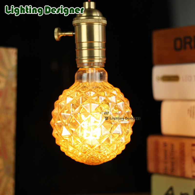 Crystal G95 edison led bulb E27 light amber retro saving lamp vintage bulb Edison ampul lamp led light chandelier AC85-265V 4W 5pcs e27 led bulb 2w 4w 6w vintage cold white warm white edison lamp g45 led filament decorative bulb ac 220v 240v