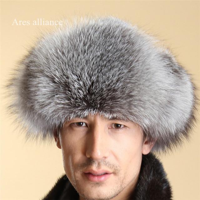 100% Genuine Fox Fur Hats Autumn Winter Man cap canada beanie Mens Fur Hats  Russian cecd9eaf3f70